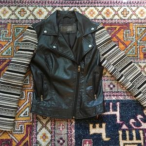 Faux leather jacket accent arms